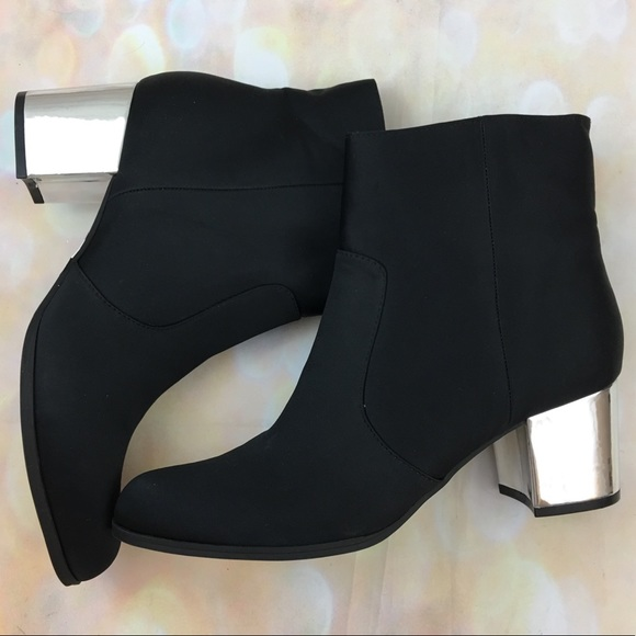black ankle boots with silver heel \u003e Up